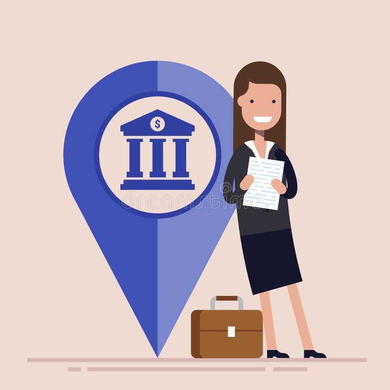 Glückliche Geschäftsfrau oder Manager mit Kartenzeiger Wirtschaftsstandort Flache Vektorillustration vektor abbildung