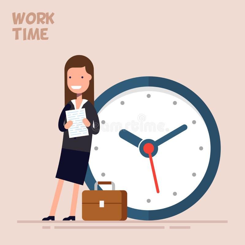 Glückliche Geschäftsfrau oder Manager steht nahe einer großen Uhr Vektorillustration in einer flachen Art Konzept der Zeit lizenzfreie abbildung