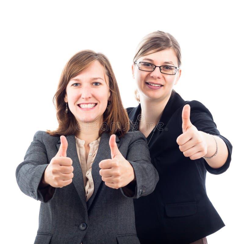 Glückliche Geschäftsfraudaumen oben lizenzfreie stockfotos