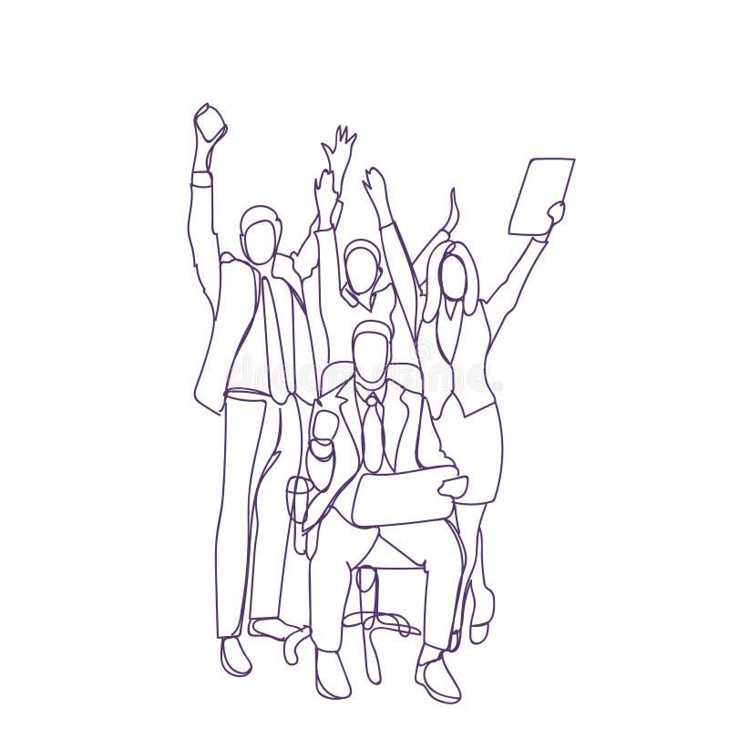 Glückliche Geschäftsleute der Gruppen-mit weißem Hintergrund Team Leader Cheering Businesspeople Overs, Gruppe, die Erfolg feiert lizenzfreie abbildung