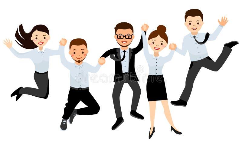 Glückliche Geschäftsleute im Büro bilden das Springen, Sieg feiernd lizenzfreie abbildung