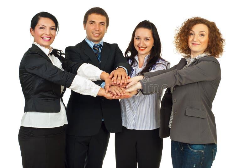 Glückliche Geschäftsleute vereinigt lizenzfreie stockfotos