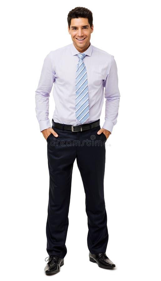 Glückliche Geschäftsmann-With Hands In-Taschen stockfotografie