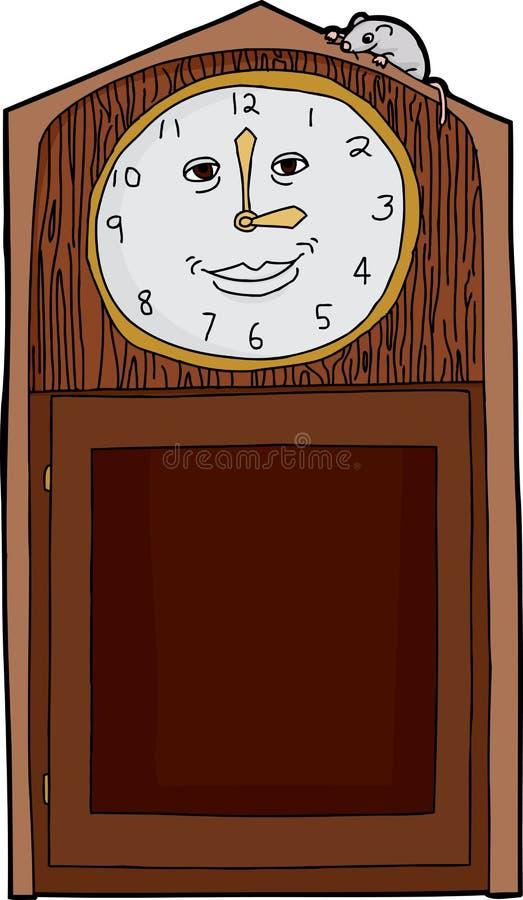 Glückliche Gesichts-Uhr mit Maus lizenzfreie abbildung