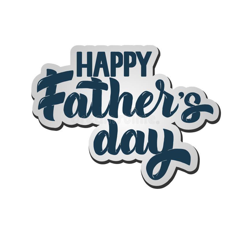 Glückliche gezeichnete Beschriftung des Vatertags Hand für Grußkarte, Plakat, Fahne, Logo stock abbildung