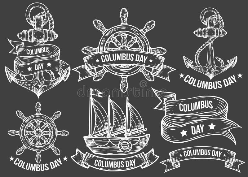 Glückliche gezeichneter Illustrationen gravierter Satz des Columbus-Tagesvektors Hand stockbild