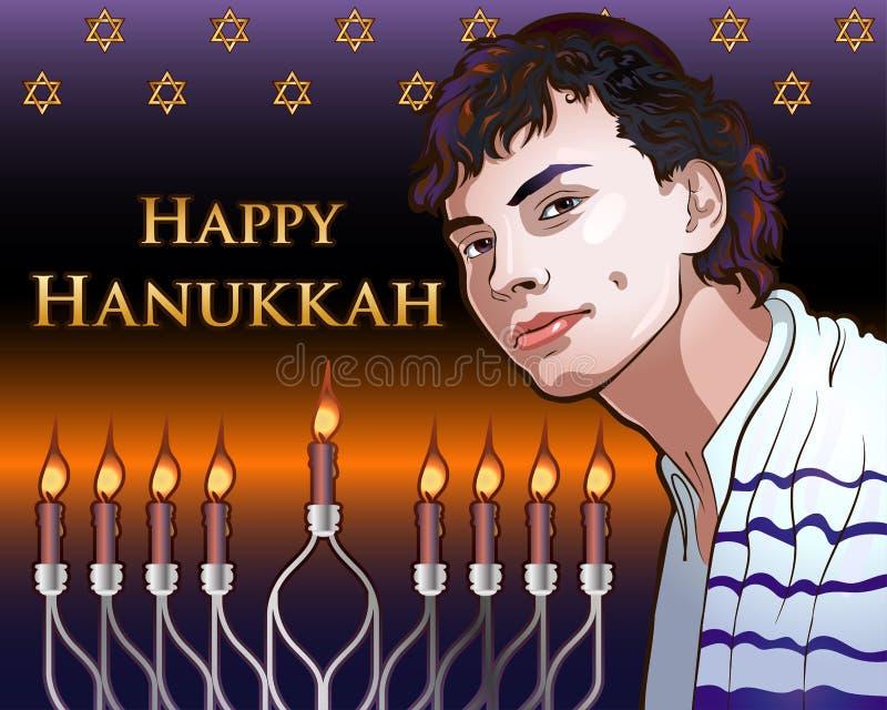 Glückliche glänzende Illustration Chanukkas mit Menorah, David Stars, Porträt eines jungen Juden stock abbildung