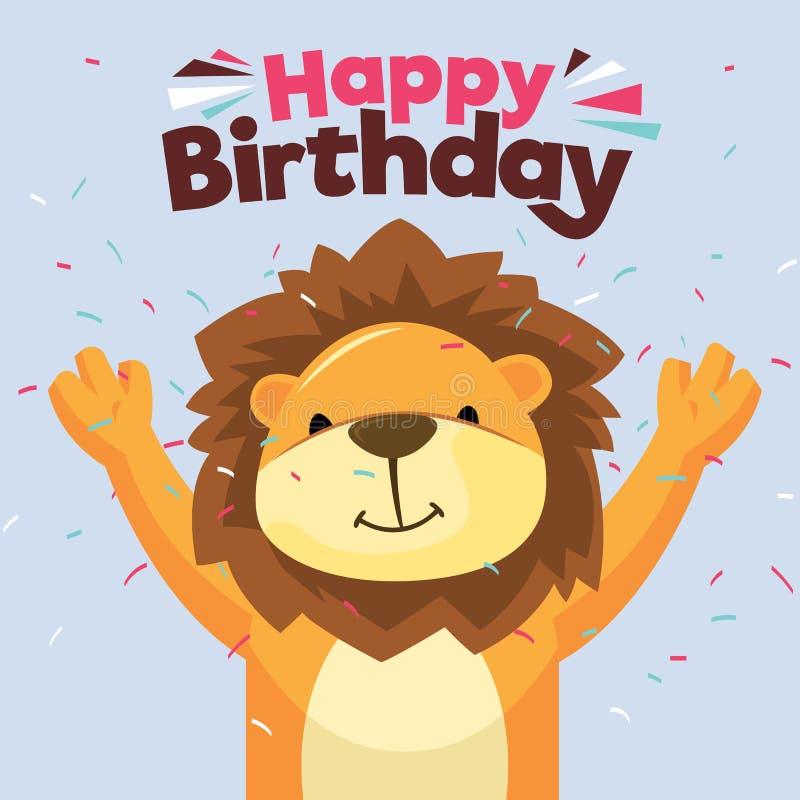 Glückliche Glückwunschkarte des Spaßes Lion Card Kaninchen mit einem Geschenk stock abbildung