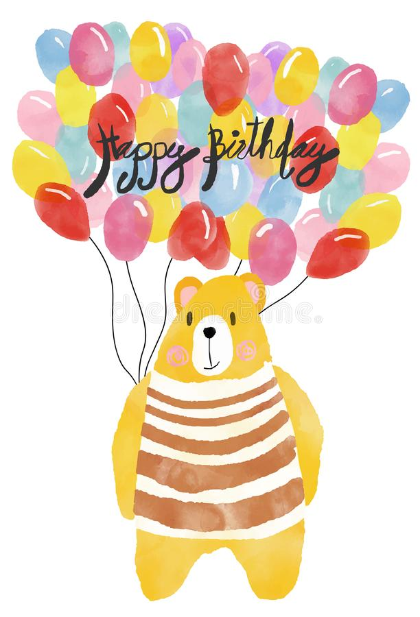 Glückliche Glückwunschkarte des Watercolour, Teddybär, der bunte Ballone hält lizenzfreie abbildung