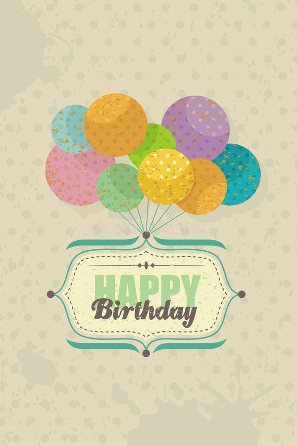 Glückliche Glückwunschkarte mit Ballonen stock abbildung