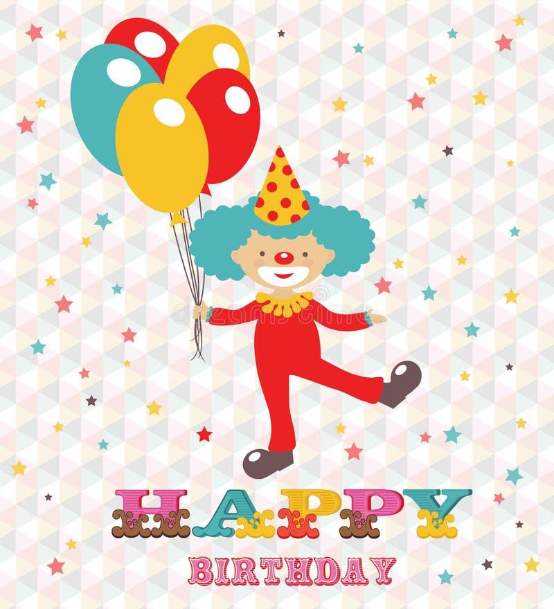 Glückliche Glückwunschkarte mit Clown lizenzfreie abbildung