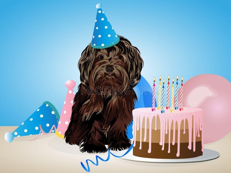 Glückliche Glückwunschkarte mit lustigem Hund, Kuchen, bunte Ballone Auch im corel abgehobenen Betrag lizenzfreie abbildung