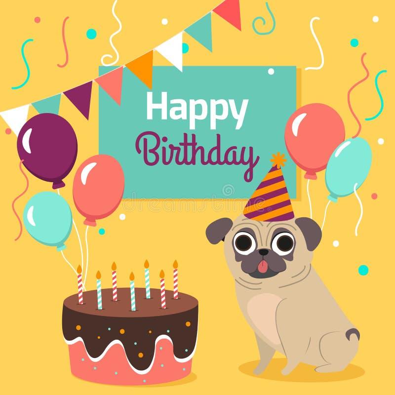 Glückliche Glückwunschkarte mit lustigem Pughund, Kuchen, bunte Ballone auf hellem gelbem Hintergrund Auch im corel abgehobenen B stock abbildung
