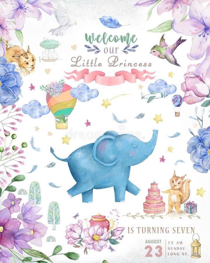 Glückliche Glückwunschkarte mit nettem Elefant-Aquarelltier Nette SCHÄTZCHEN-Grußkarte r lizenzfreies stockbild