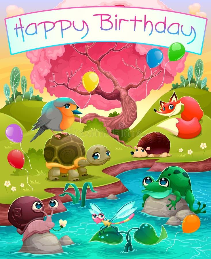 Glückliche Glückwunschkarte mit netten Tieren in der Landschaft stock abbildung