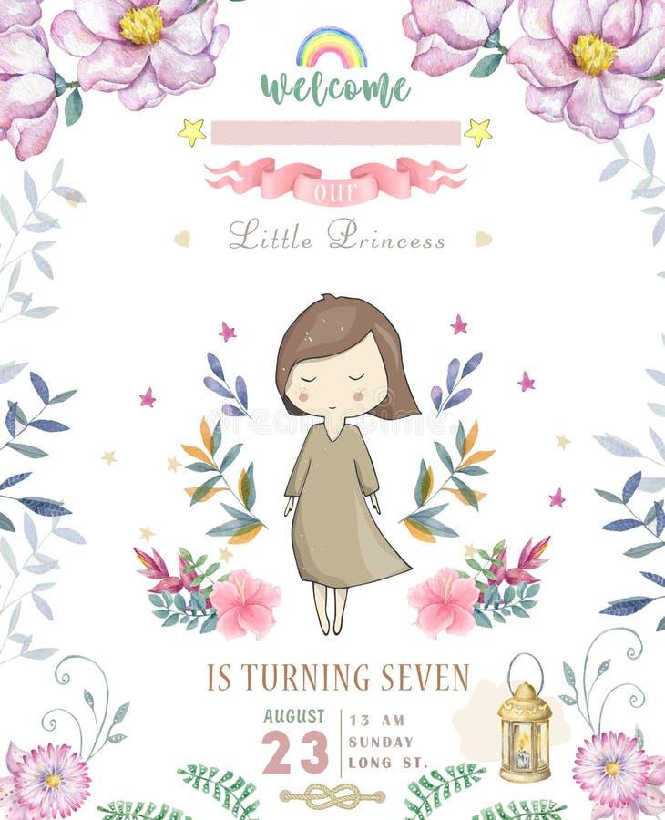 Glückliche Glückwunschkarte mit netter kleiner Prinzessin und rosa Blumen und Blume Schönheitsentwurfskarte für Feier, laden an e stock abbildung