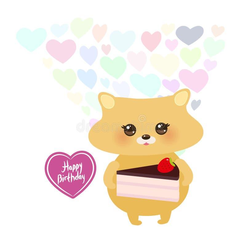 Glückliche Glückwunschkarte netter kawaii Hamster mit frischem Erdbeerkuchen, Ballon in Form des Herzens, Pastellfarben auf weiße stock abbildung