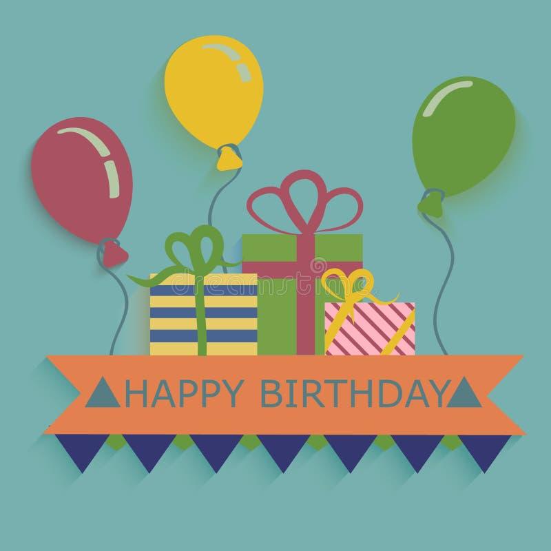 Glückliche Glückwunschkarteballone und -geschenke stock abbildung