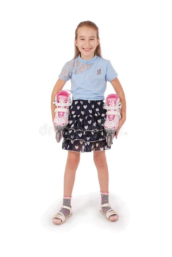 Glückliche Griffe des kleinen Mädchens in den Handrollschuhen stockbilder