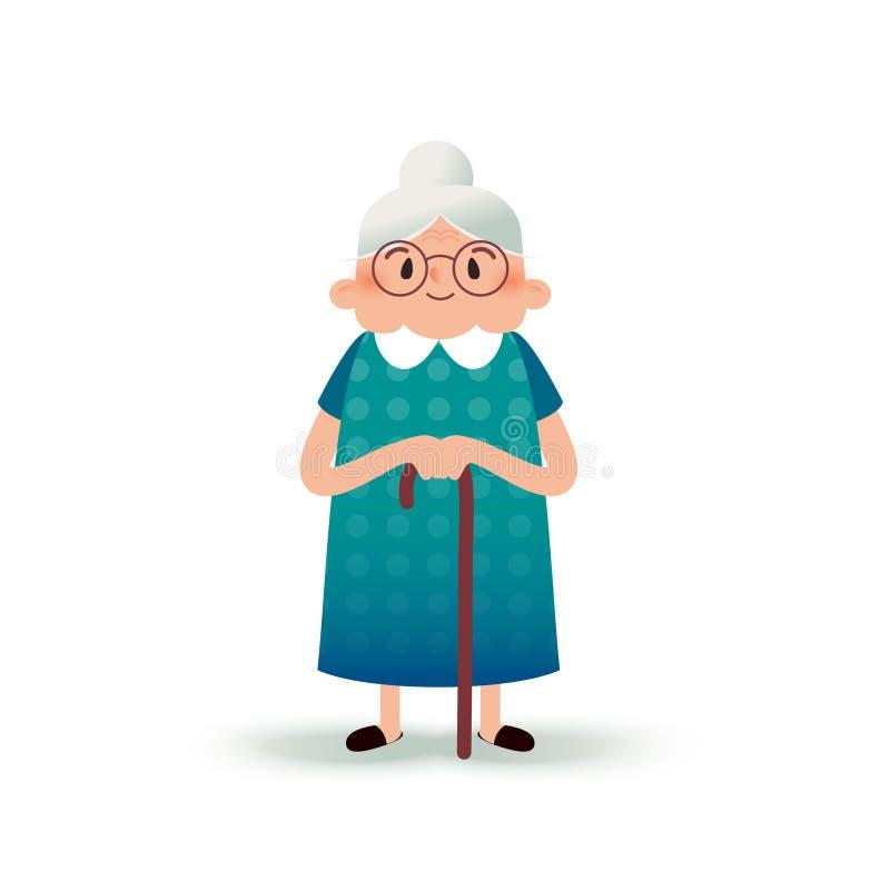 Glückliche Großmutter der Karikatur mit einem Stock Alte Frau mit Gläsern Flache Illustration auf weißem Hintergrund Lustige Oma stock abbildung