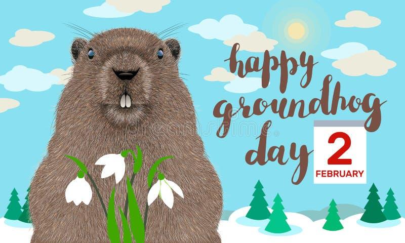Glückliche Groundhog Day-Grußkarte lizenzfreie abbildung