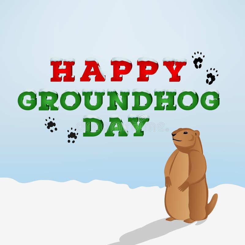 Glückliche groundhog Tagesaufschrift auf blauem Hintergrund Groundhog-Zeichentrickfilm-Figur, die seinen Schatten betrachtet lizenzfreie abbildung
