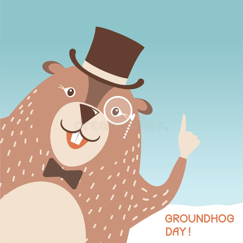 Glückliche Groundhog-Tagesillustration mit nettem Murmeltierkopf in leichtem vektor abbildung