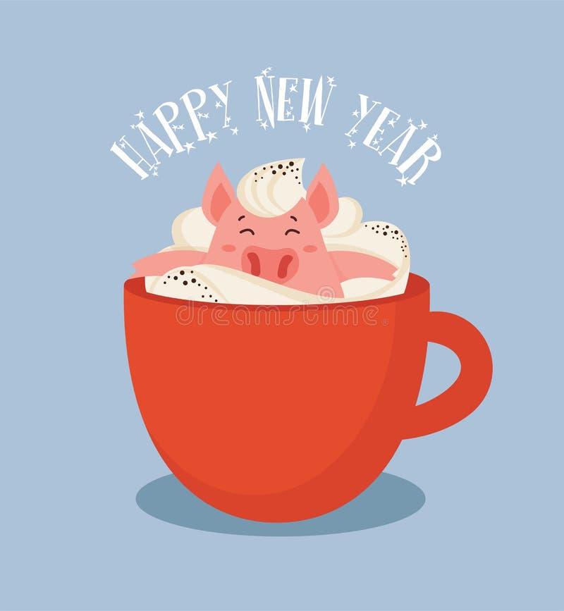 Glückliche Grußkarte des Chinesischen Neujahrsfests, Jahr eines Schweins Nettes und lustiges Ferkel, das in einer Schale des Wint stock abbildung