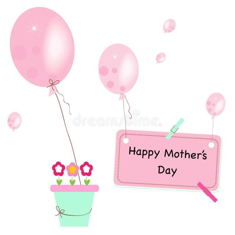 Glückliche Grußkarte des Mutter Tages Bewässerungsblumenfee und Ballonvektorhintergrund vektor abbildung