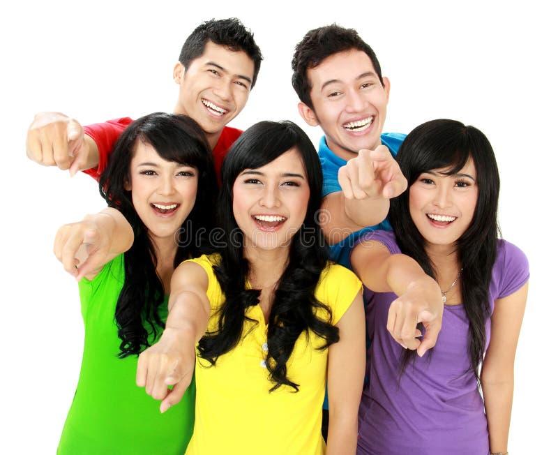 Glückliche Gruppe Freunde lizenzfreie stockfotografie