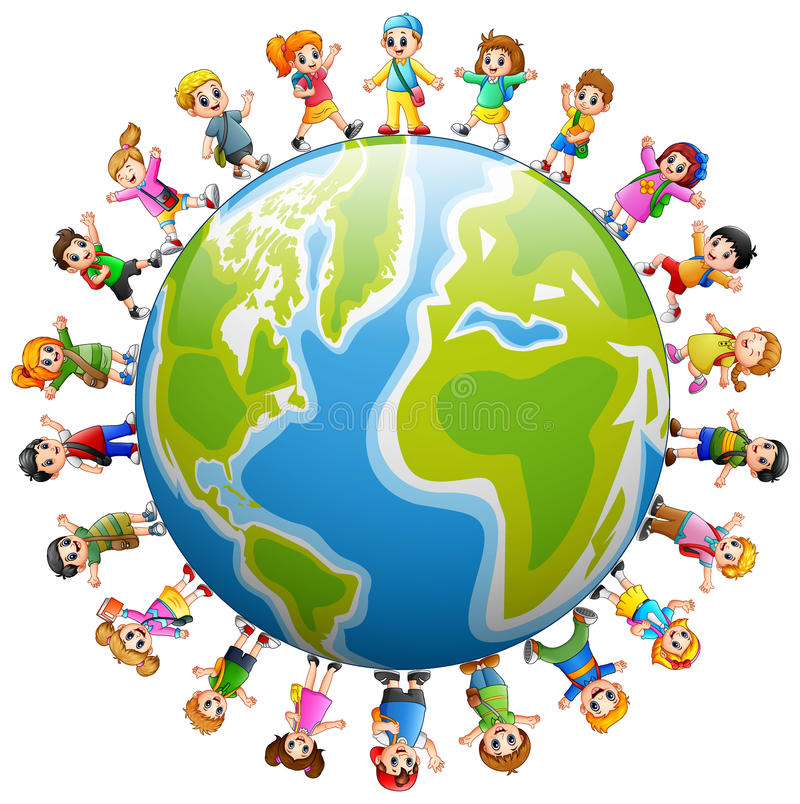 Glückliche Gruppe Kinder, die auf der ganzen Welt stehen lizenzfreie abbildung