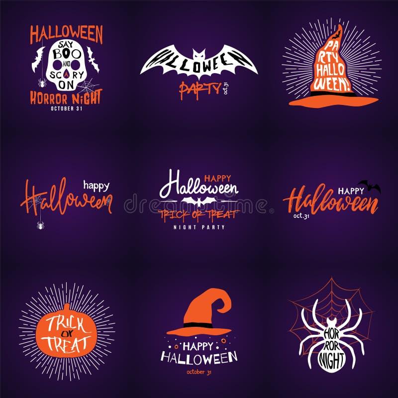 Glückliche Halloween-Überlagerungen, Aufkleber beschriftend entwerfen Sammlung lizenzfreie abbildung