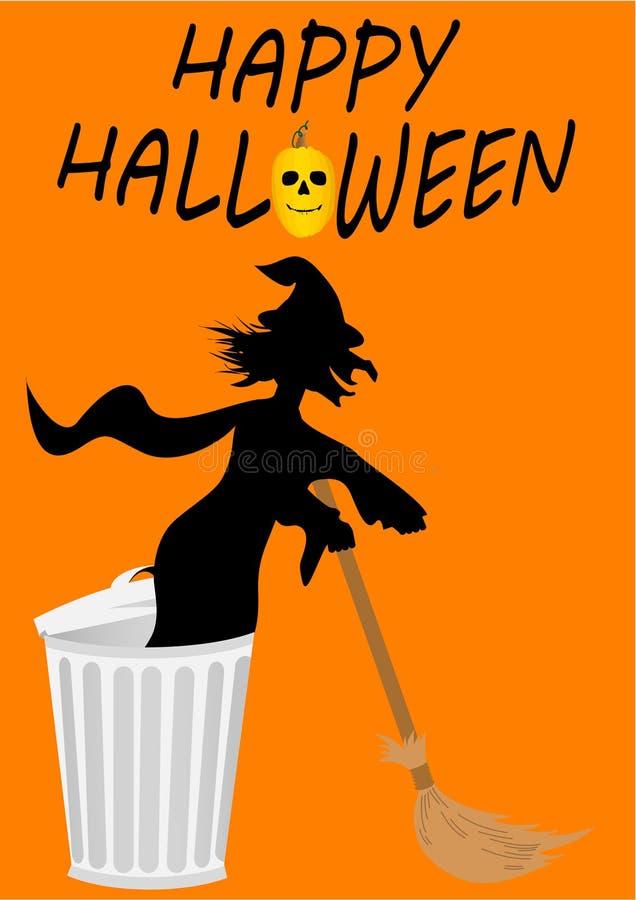 Glückliche Halloween-Abbildung mit Hexe lizenzfreie abbildung