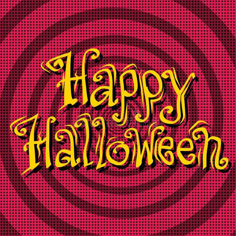 Glückliche Halloween-Aufschrift auf Retro- Hintergrund vektor abbildung