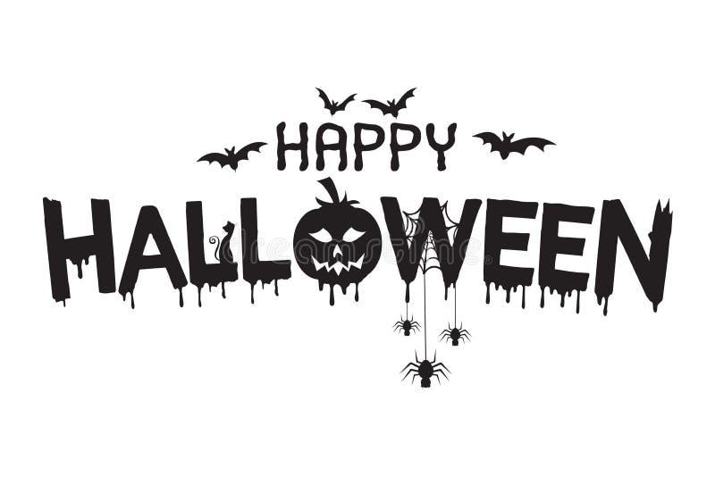 Glückliche Halloween-Beschriftungsillustration lizenzfreie abbildung