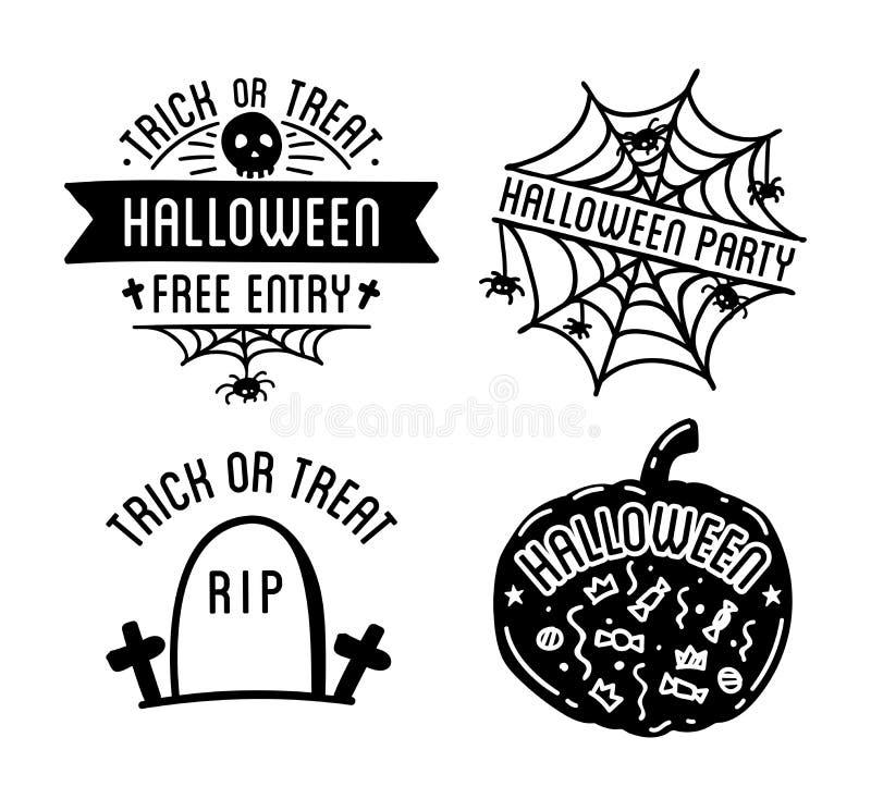 Glückliche Halloween-Designsammlung Schwarze Ausweise und Kennsatzfamilie mit Text nach innen lizenzfreie abbildung