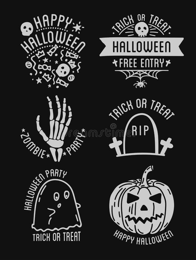 Glückliche Halloween-Designsammlung Schwarze Ausweise und Kennsatzfamilie mit Text nach innen vektor abbildung