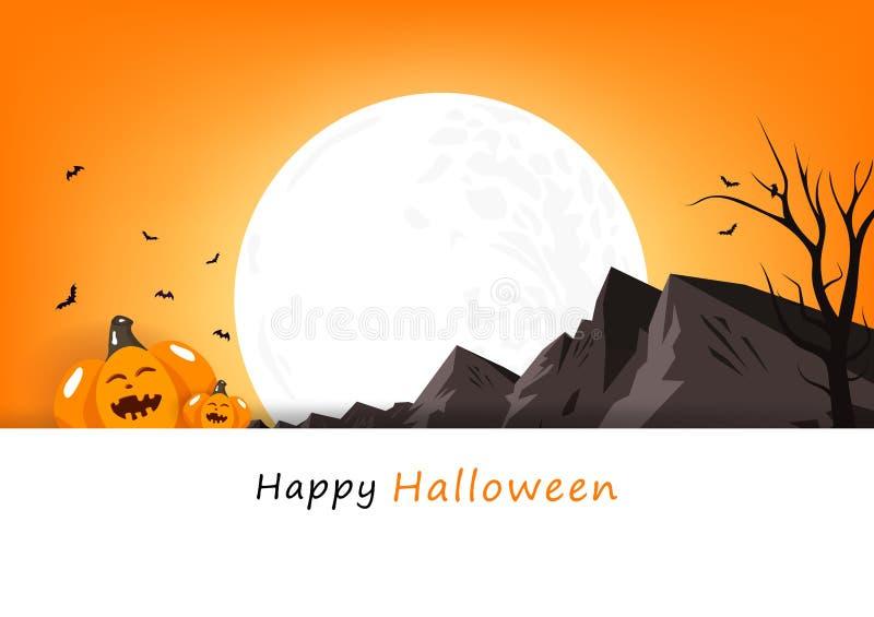 Glückliche Halloween-Einladungsplakatkarte, Kürbis mit Vollmond und Berglandschaft, Feierpartei-Hintergrundvektor vektor abbildung