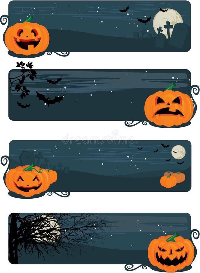 Glückliche Halloween-Fahnen vektor abbildung