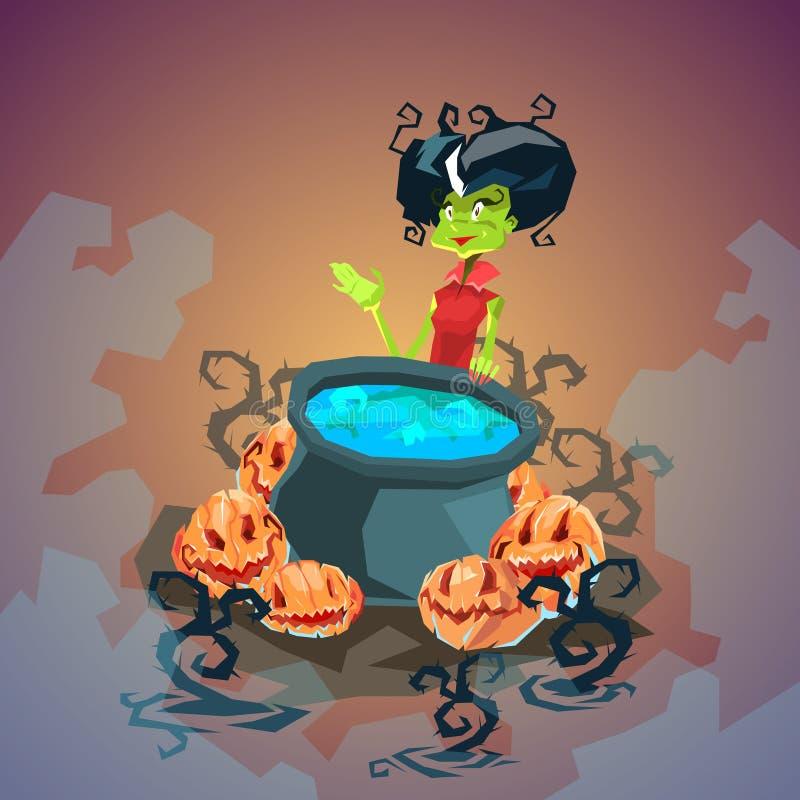 Glückliche Halloween-Fahnen-Einladungs-Karten-Hexen-kochender Trank stock abbildung