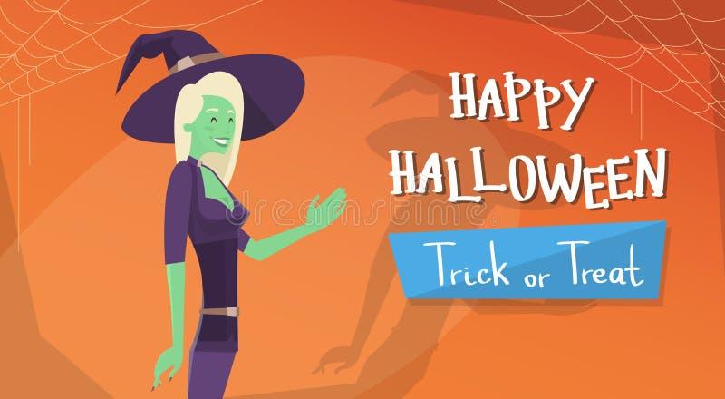 Glückliche Halloween-Fahnen-Einladungs-Karten-Hexen-Zeichentrickfilm-Figur lizenzfreie abbildung