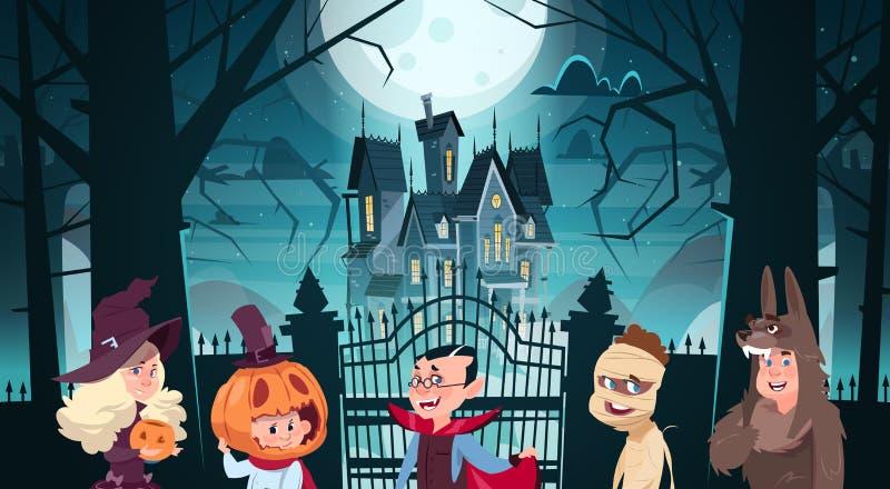 Glückliche Halloween-Fahnen-Feiertags-Dekorations-Horror-Partei-Gruß-Karten-nette Karikatur-Monster, die zum dunklen Schloss mit  stock abbildung
