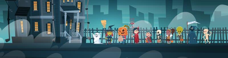 Glückliche Halloween-Fahnen-Feiertags-Dekorations-Horror-Partei-Gruß-Karten-nette Karikatur-Monster, die zum dunklen Schloss mit  vektor abbildung