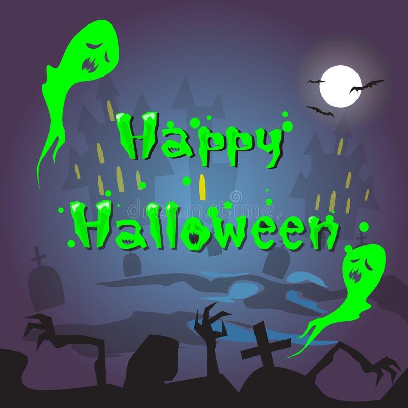 Glückliche Halloween-Geist-Haus-Kirchhof-Friedhofs-Karten-Fahne stock abbildung