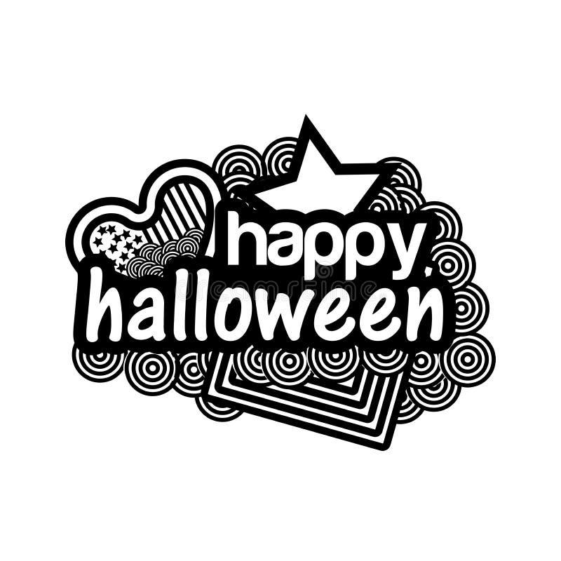 Glückliche Halloween-Gekritzel Set der lustiger Zeichentrickfilm-Figurfedern und -bleistifts vektor abbildung