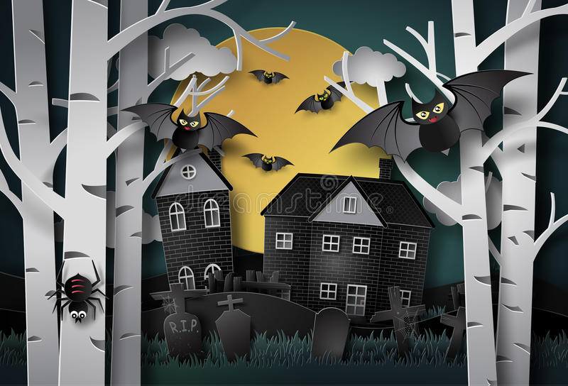 Glückliche Halloween-Gruß-Karte stock abbildung