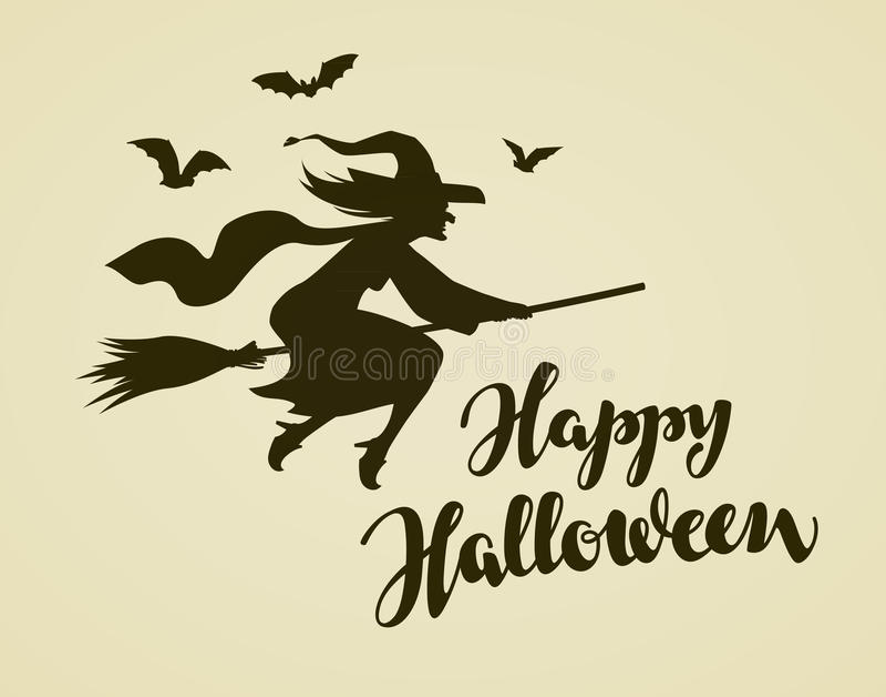 Glückliche Halloween-Gruß-Karte Hexen-Fliegen auf Besenstiel Weinlesevektorillustration lizenzfreie abbildung