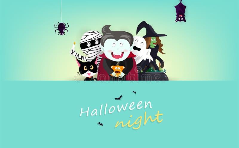 Glückliche Halloween-Grußkarte, Dekoration feiern Urlaubsparty-, Vampirs-, Hexen-, Mama-, Schläger-, Spinnen-, Katzen- und Kürbis stock abbildung