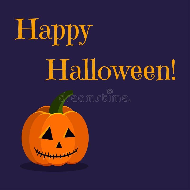 Glückliche Halloween-Grußkarte mit Kürbis-Steckfassungslampe des netten Feiertagscharakters orange lizenzfreie abbildung