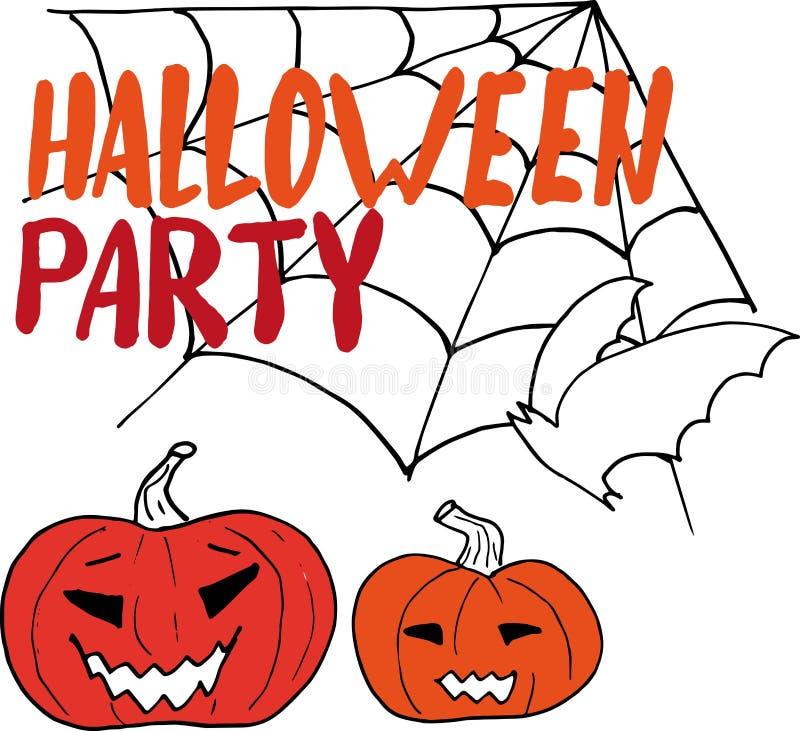 Glückliche Halloween-handzeichnung, die auf einem hellen Hintergrund mit Spinnennetzen, Kürbisen und einem Schläger lettring ist  stock abbildung